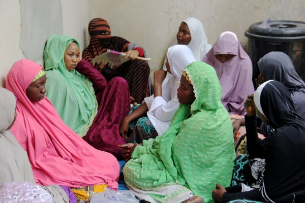 Relatives of one of the victims abducted last month gathered in Maiduguri, Nigeria