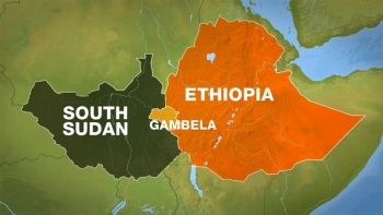 Map highlighting Ethiopia and South Sudan with the Gambella region bordering both where the raid occurred