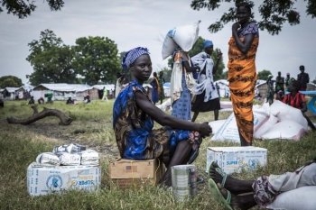 Food assistance delivered by the World Food Programme in Dome, South Sudan