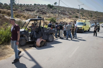 Israeli security forces at the scene of clashes near El Matan in the West Bank