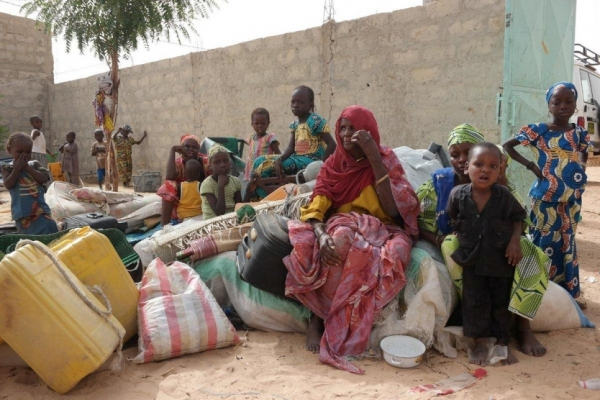 A Nigerian family seeking refuge in Diffa town, Niger, from increase violence in home country