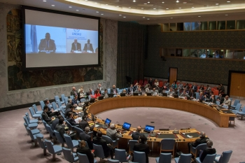 A wide view of the Security Council meeting on the situation in Somalia.