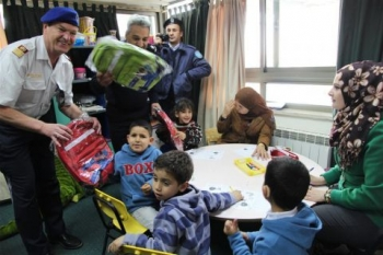 EUPOL COPPS staff provides school bags for Palestinian students