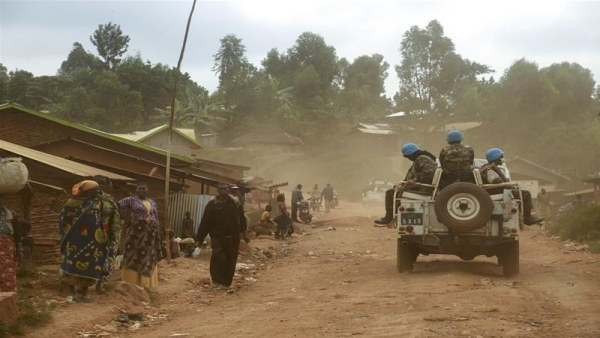 Army patrolling a village in Ituri region after the killing of 20 civilians