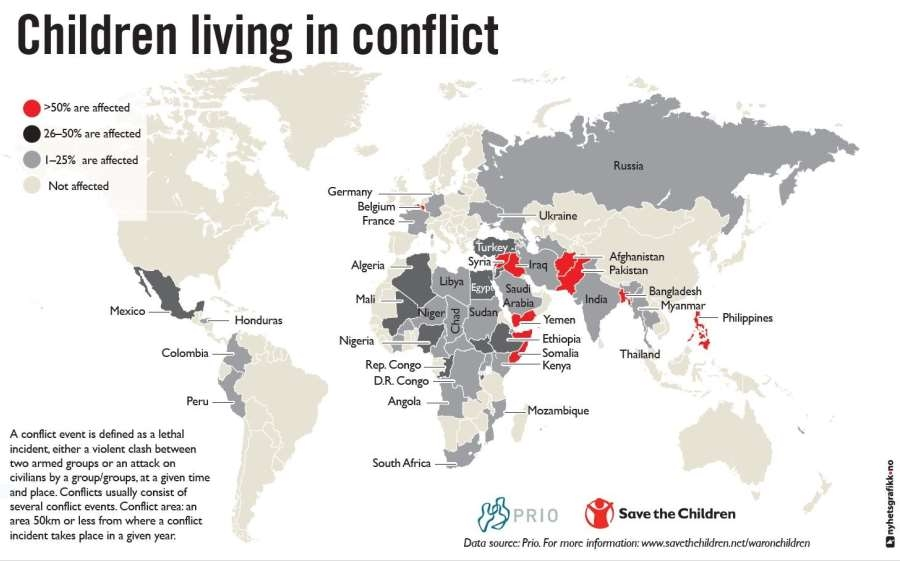 One every six children is affected by armed conflict in the world map describing the geographical distribution of children affected by conflicts around the world gumiabroncs Choice Image