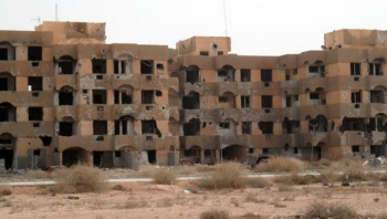 Abandoned apartment blocks in Tawergha, Libya.