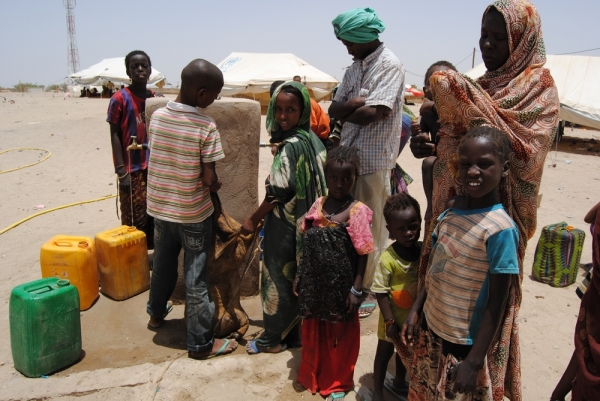 Water point constructed by MSF at Mbera camp, Mauritania