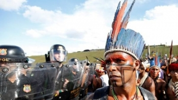 Indigenous people take part in demonstrations demanding land rights in Brasilia, Brazil