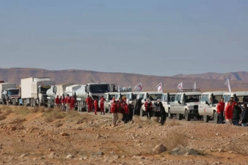 Aid convoy arrives at the Rukban refugee refugee camp