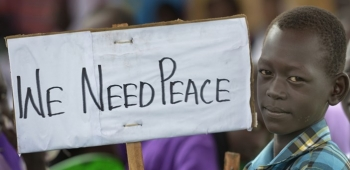 A child in South Sudan demanding peace
