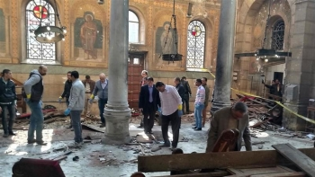 Aftermath of the bombing inside the church