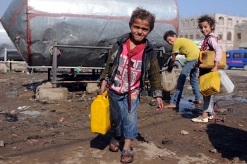The Saudi blockade is limiting access to clean water, like that pictured here in Sanaa, Yemen.