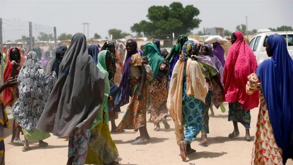 Women in satellite camps in Borno state waiting for their food ration