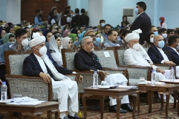 Afghan President Ashraf Ghani at a public assembly to discuss the future of Afghanistan's peace talks