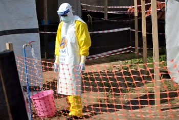 A medical worker preparing to take care of Ebola Patient in Beni, North Kivu.