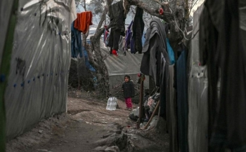 A refugee camp on the island of Lebos