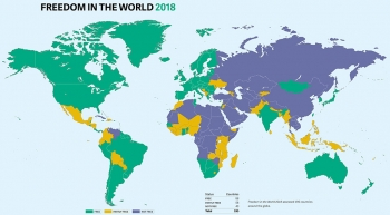 Report map illustrates the status of democracy in 195 countries around the globe in 2017