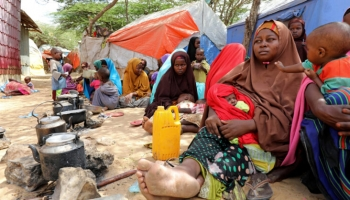 Somali internally displaced families after fleeing the Lower Shabelle region amid an increase in U.S. airstrikes