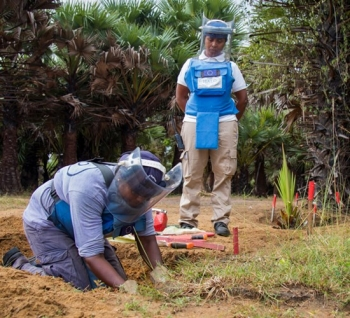 The HALO Trust team working on clearing landmines in Sri Lanka