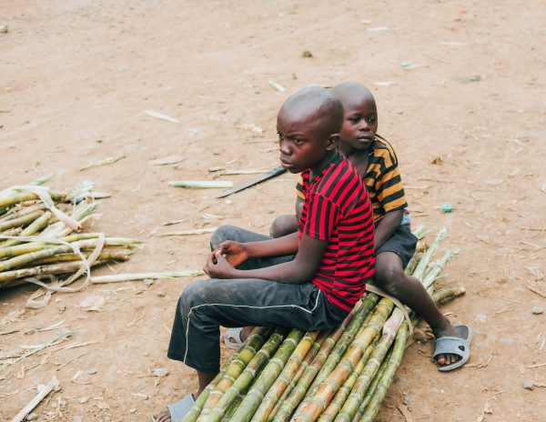 Two kids sit on bamboo canes in Bukavu, eastern Democratic Republic of the Congo