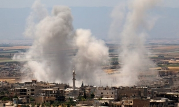 Government forces bombarded Idlib, Syria