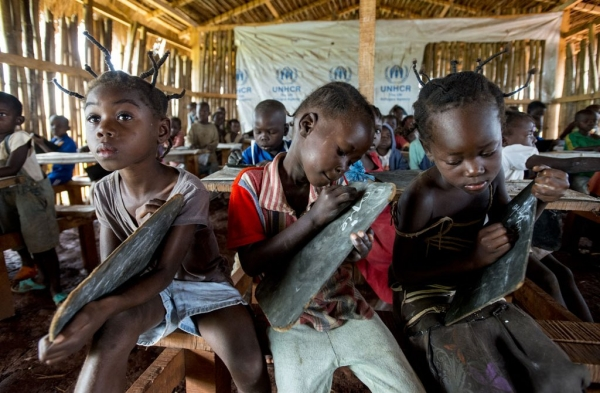 Children from the Central African Republic at primary school in the Mole Refugee Camp, Democratic Republic of the Congo.