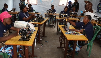 Women in North Kivu learn to sew as part of the MONUSCO victim assistance program