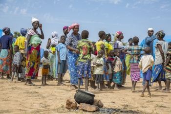 Displaced Burkinabè people gather in a camp in Pissila town