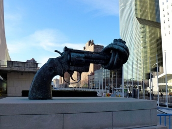 The Knotted Gun Monument outside the United Nations building, New York City, USA