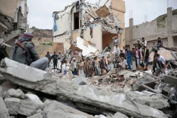 Ruins of a house destroyed by a Saudi-led airstrike in Sana'a, Yemen