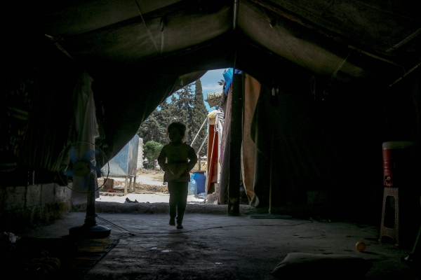 A child in a displaced camp