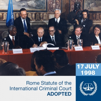 Representatives of member States sign the Rome Statute of the International Criminal Court on 17 July 1998