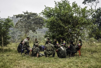 "Revolutionary Armed Forces of Colombia attend a ""class"" on the peace process between them and the government"