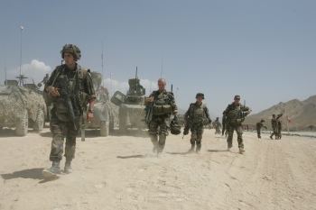 NATO ISAF soldiers return to an operating base after a security patrol in Kapisa, Afghanistan.