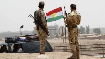 Kurdish security forces at a checkpoint on the outskirts of Kirkuk
