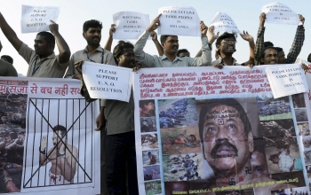 Tamil community members staging a protest against Sri Lanka for alleged human rights violations in Bhopal