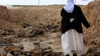Yazidi woman in an unearthed mass grave in northern Iraq