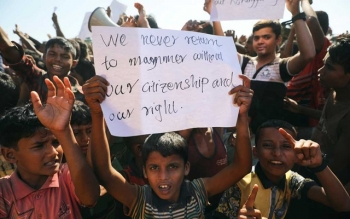 Rohingya protesting against their repatriation