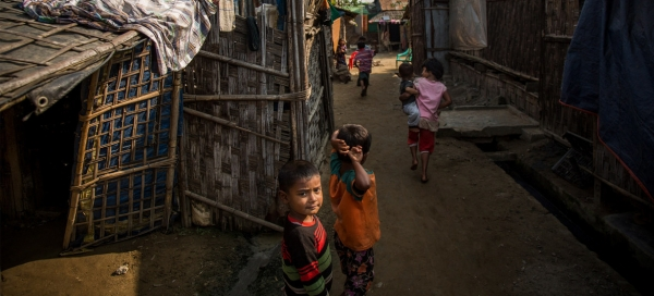 Children playing in an Internally Displacement Persons camp in Sittwe, the capital of the Rakhine State