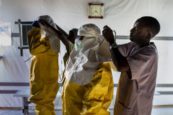 Healthcare workers wearing PPE in Bunia, DRC