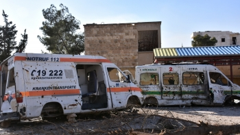 The wreckage of ambulances in Aleppo