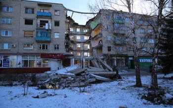 Fourteen people were killed when a missile struck this apartment building in Mykolaivka in the Donetsk region in eastern Ukraine.