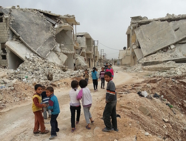 Children in Azaz, Aleppo governorate in Syria