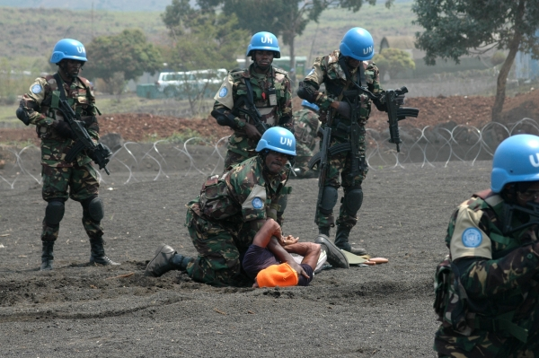 Elements of the Force Intervention Brigade of MONUSCO give a demonstration of their know-how in combat