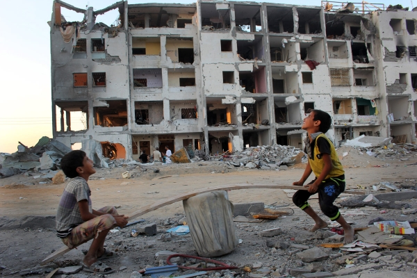 Children playing among the ruins of Gaza