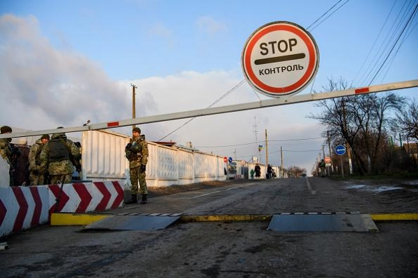 A government checkpoint located on the line of contact