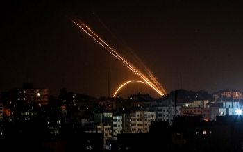 Rockets are fired from the Gaza Strip into Israel on 13 November 2019.