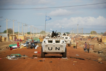 A UN peacekeeping convoy patrolling the border between Sudan and South Sudan