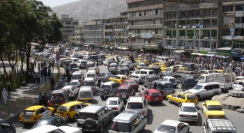 Morning traffic in Kabul