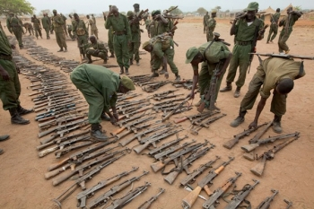 During a disarm program, SPLA soldier find weapons